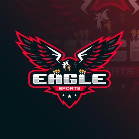 eagle vector mascot logo design with modern illustration concept style for badge, emblem and tshirt printing. eagle illustration for sport and esport team.