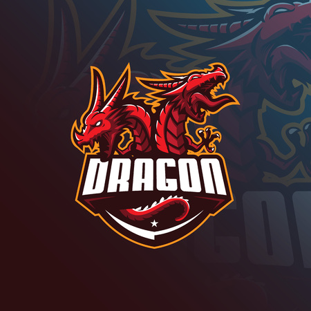 dragon vector mascot logo design with modern illustration concept style for badge, emblem and tshirt printing. angry dragon illustration for sport and esport team. Illustration
