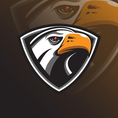 eagle vector mascot logo design with modern illustration concept style for badge, emblem and tshirt printing. eagle head illustration with shield.