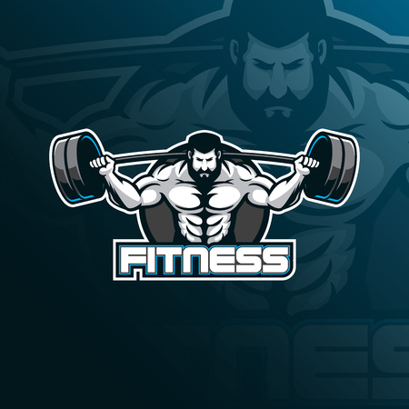 fitness vector mascot logo design with modern illustration concept style for badge, emblem and tshirt printing. fitness illustration for sport logo. Illustration