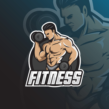 fitness vector mascot logo design with modern illustration concept style for badge, emblem and tshirt printing. fitness illustration with barbell in hand.