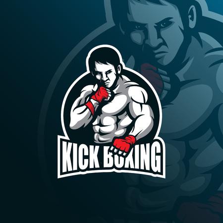 kick boxing vector mascot logo design with modern illustration concept style for badge, emblem and tshirt printing. kick boxing illustration for sport logo. Illustration