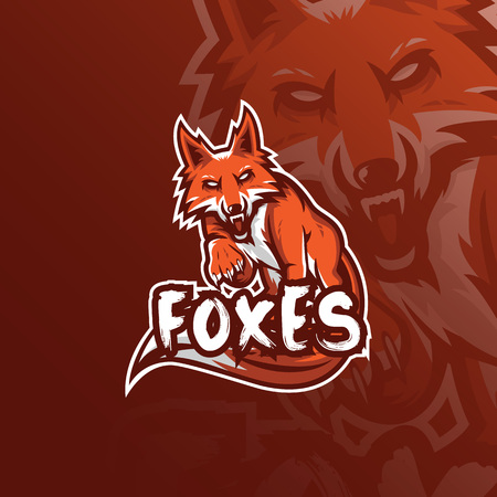 fox vector mascot logo design with modern illustration concept style for badge, emblem and tshirt printing. angry fox illustration for sport and esport team.