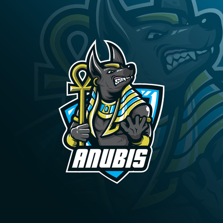 anubis vector mascot logo design with modern illustration concept style for badge, emblem and tshirt printing. angry anubis illustration for sport and esport team. Illustration