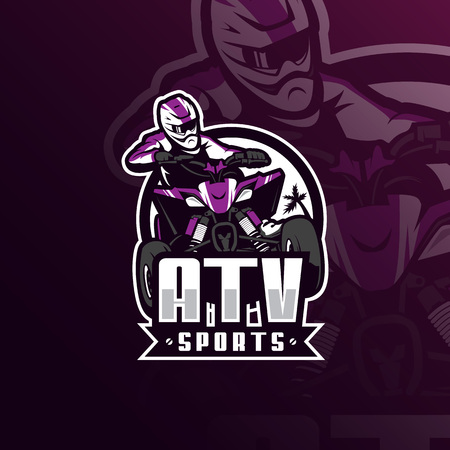 atv motocross vector mascot logo design with modern illustration concept style for badge, emblem and tshirt printing. atv illustration for sport team.