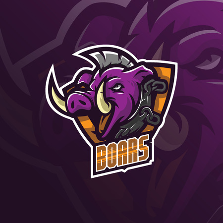 boar vector mascot logo design with modern illustration concept style for badge, emblem and tshirt printing. angry boar illustration for sport and esport team.