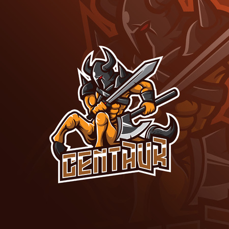 centaur knight vector mascot logo design with modern illustration concept style for badge, emblem and tshirt printing. angry centaur illustration with sword and axe. Illustration