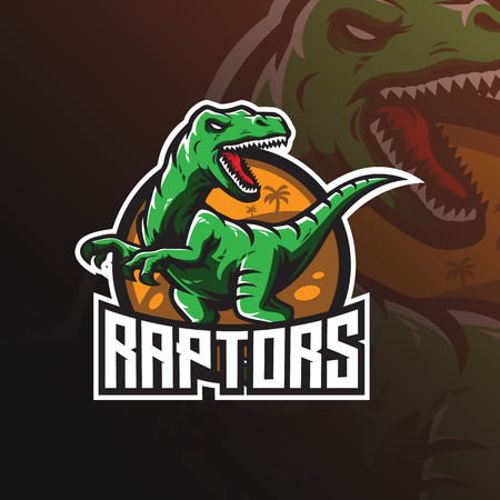 raptor vector mascot logo design with modern illustration concept style for badge, emblem and tshirt printing. angry dinosaur illustration for sport and esport team. Çizim