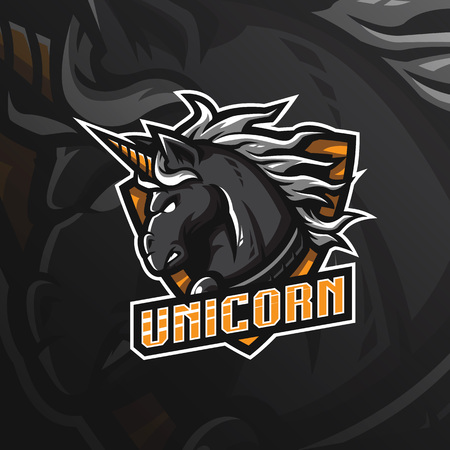 unicorn horse vector mascot logo design with modern illustration concept style for badge, emblem and tshirt printing. angry unicorn illustration for sport and esport team.