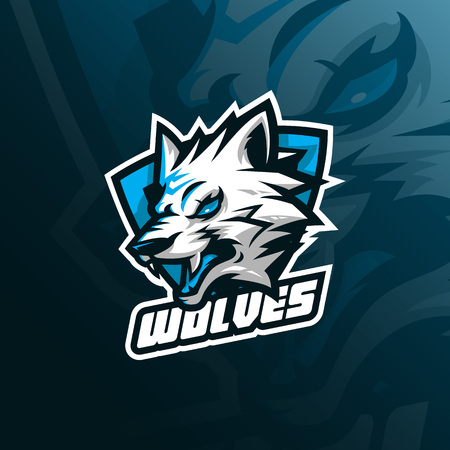 wolf vector mascot logo design with modern illustration concept style for badge, emblem and tshirt printing. angry wolf illustration for sport and esport team. Illustration
