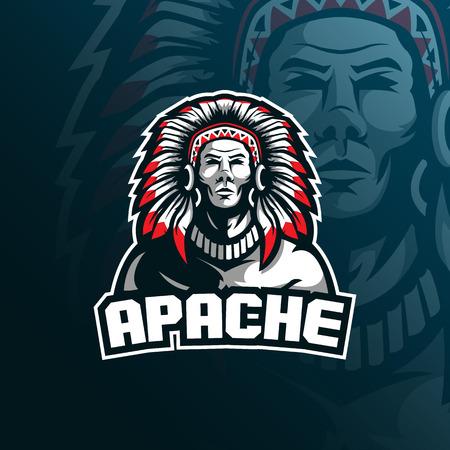 création de logo de mascotte vecteur apache tribu avec style de concept d'illustration moderne pour l'impression de badges, d'emblèmes et de t-shirts. illustration de la tribu pour l'équipe de sport et d'esport.