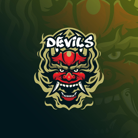 devil vector mascot logo design with modern illustration concept style for badge, emblem and tshirt printing. angry devil illustration for sport and esport team. Illustration