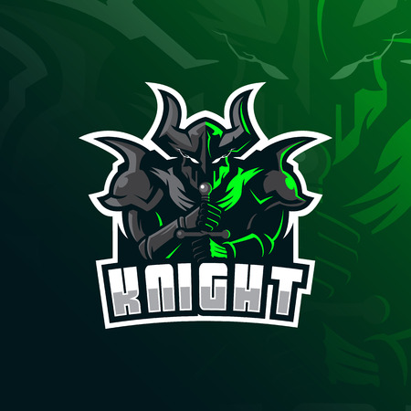knight vector mascot logo design with modern illustration concept style for badge, emblem and tshirt printing. knight illustration with sword in hand.
