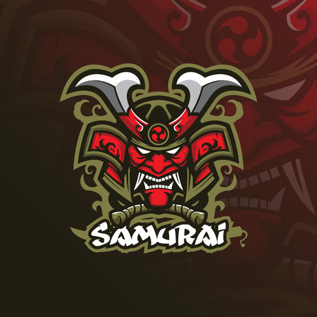 samurai vector mascot logo design with modern illustration concept style for badge, emblem and tshirt printing. angry mask samurai illustration.