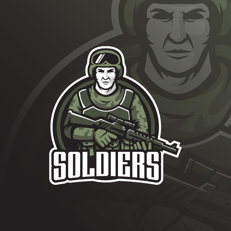 soldier vector mascot logo design with modern illustration concept style for badge, emblem and tshirt printing. soldier illustration with shotguns in hand.