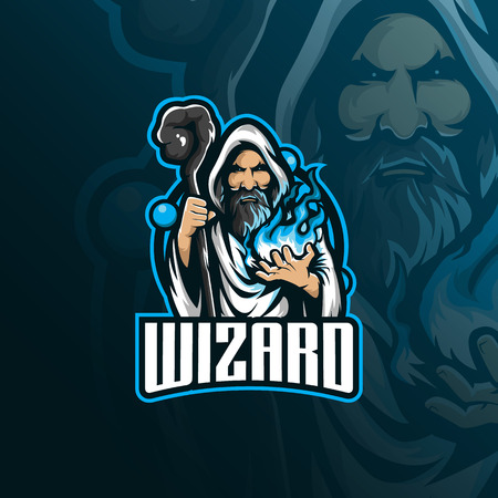 wizard vector mascot logo design with modern illustration concept style for badge, emblem and tshirt printing. angry wizard illustration with stick and fire in hand.