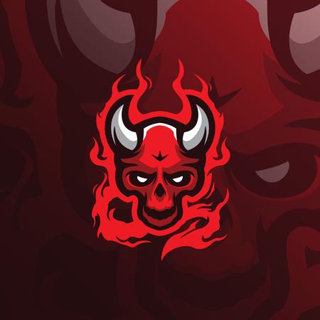 skull devil mascot logo design vector with modern illustration concept style for badge, emblem and tshirt printing. angry devil illustration for sport and esport team. Illustration