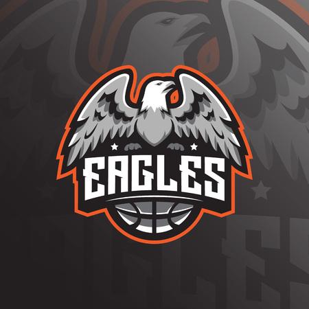 eagle mascot logo design vector with modern illustration concept style for badge, emblem and tshirt printing. angry eagle illustration for basket sport team. Illustration