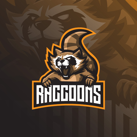 raccoon mascot logo design vector with modern illustration concept style for badge, emblem and tshirt printing. angry raccoon illustration for sport and esport team.