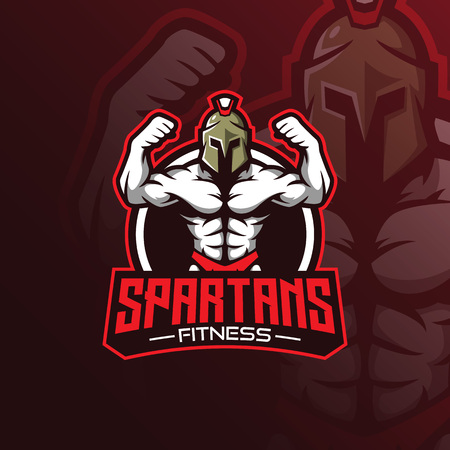 fitness mascot logo design vector with modern illustration concept style for badge, emblem and tshirt printing. spartan fitness illustration. Illustration