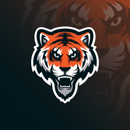 tiger mascot logo design vector with modern illustration concept style for badge, emblem and tshirt printing. angry tiger illustration.