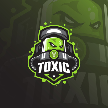 toxic mascot logo design vector with modern illustration concept style for badge, emblem and tshirt printing. angry toxic illustration for sport team.