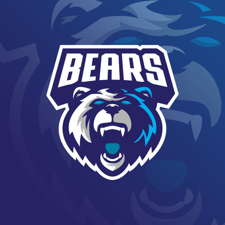 bear mascot logo design vector with modern illustration concept style for badge, emblem and tshirt printing. grizzly bear illustration for sport team.