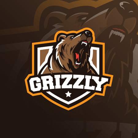 vector de diseño de logotipo de mascota de oso con estilo moderno de concepto de ilustración para la impresión de insignias, emblemas y camisetas. Ilustración de oso grizzly para equipo deportivo. Logos