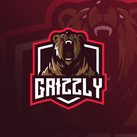 Bären-Maskottchen-Logo-Design-Vektor mit modernem Illustrationskonzept-Stil für Abzeichen-, Emblem- und T-Shirt-Druck. Grizzlybärillustration für Sportteam.