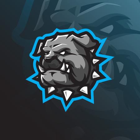 dog mascot logo design vector with modern illustration concept style for badge, emblem and tshirt printing. angry bulldog head illustration for sport team. Illustration