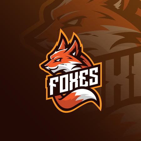 fox mascot logo design vector with modern illustration concept style for badge, emblem and tshirt printing. angry fox illustration for sport team. Illustration