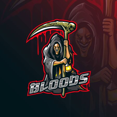 reaper mascot design vector with modern illustration concept style for badge, emblem and tshirt printing. blood reaper illustration.