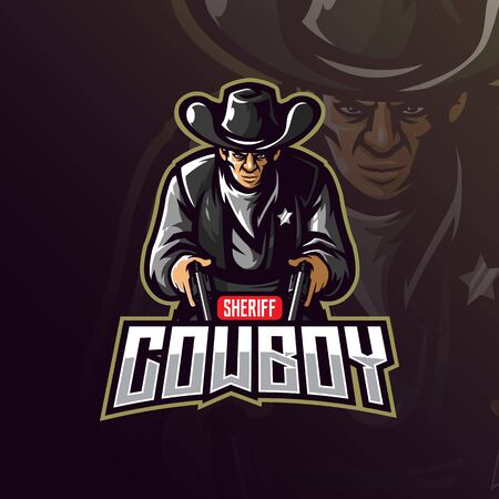 cowboy mascot design vector with modern illustration concept style for badge, emblem and tshirt printing. angry coboy illustration with gun in hand.  イラスト・ベクター素材