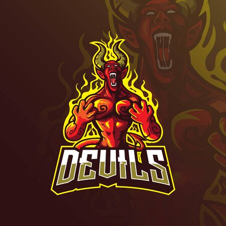 devil mascot icon design vector with modern illustration concept style for badge, emblem and tshirt printing. angry devil illustration. Stock Illustratie