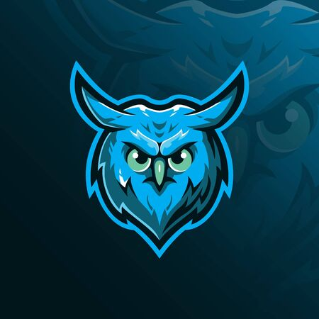 owl mascot design vector with modern illustration concept style for badge, emblem and tshirt printing. angry owl head  illustration. 向量圖像