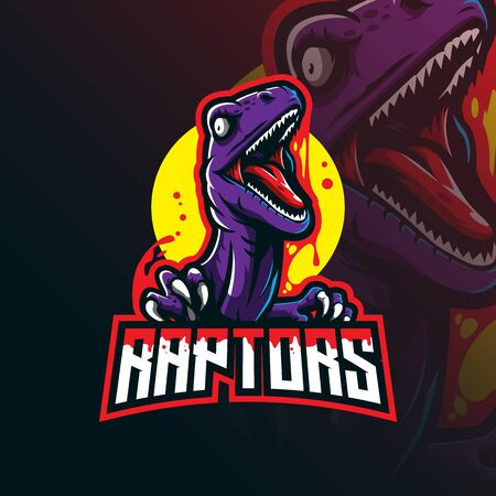 raptor mascot design vector with modern illustration concept style for badge, emblem and tshirt printing. angry raptor illustration. 일러스트