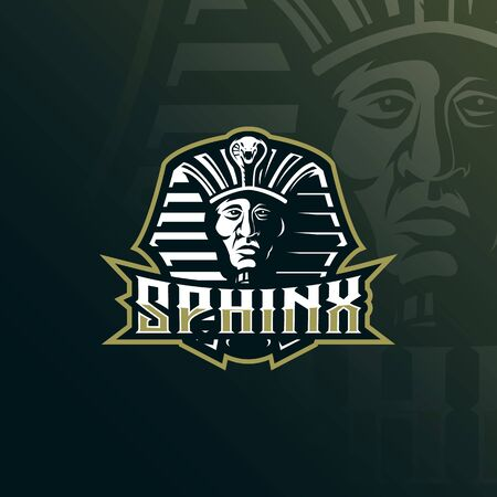sphinx mascot design vector with modern illustration concept style for badge, emblem and tshirt printing. head sphinx illustration.
