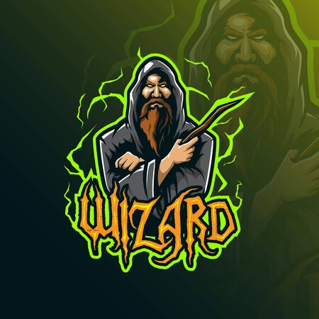 wizard mascot design vector with modern illustration concept style for badge, emblem and tshirt printing. angry wizard illustration. Ilustrace