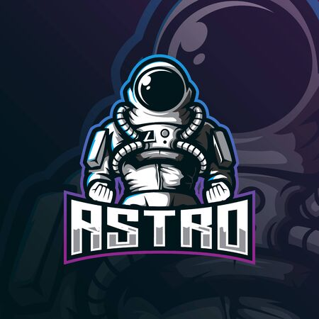 astronaut mascot logo design vector with modern illustration concept style for badge, emblem and tshirt printing. strong astro illustration.