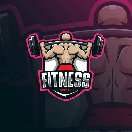 fitness mascot logo design vector with modern illustration concept style for badge, emblem and tshirt printing. fitness illustration for sport team. Archivio Fotografico - 134534374