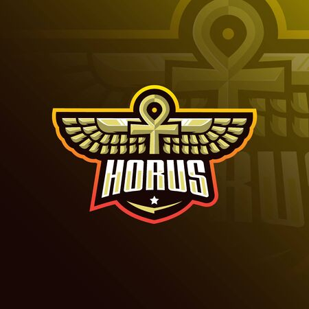 horus mascot logo design vector with modern illustration concept style for badge, emblem and tshirt printing. horus wings illustration for sport team.