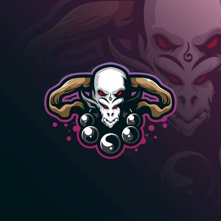 head gods mascot logo design vector with modern illustration concept style for badge, emblem and tshirt printing. head illustration for sport and esport team. Stock Illustratie