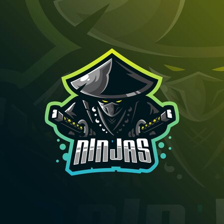 ninja mascot logo design vector with modern illustration concept style for badge, emblem and tshirt printing. angry ninja illustration for sport and esport team.