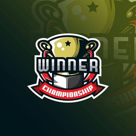 winner mascot logo design vector with modern illustration concept style for badge, emblem and tshirt printing. winner trophy illustration for sport team.