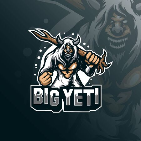 yeti mascot logo design vector with modern illustration concept style for badge, emblem and tshirt printing. angry yeti illustration with tree in hand. Stockfoto - 134534379
