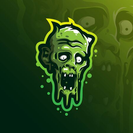 zombie mascot logo design vector with modern illustration concept style for badge, emblem and tshirt printing. angry head zombie illustration.