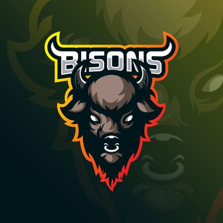 bison mascot logo design vector with modern illustration concept style for badge, emblem and tshirt printing. angry head bison illustration for sport team. Иллюстрация