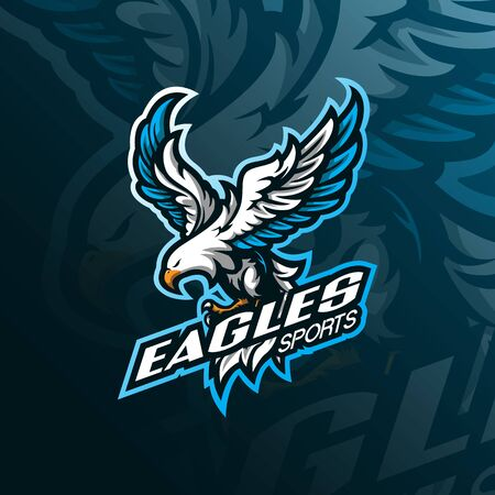 eagle mascot logo design vector with modern illustration concept style for badge, emblem and tshirt printing. angry eagle illustration for sport team. Stock Illustratie