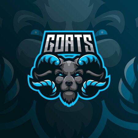 goat mascot logo design vector with modern illustration concept style for badge, emblem and tshirt printing. goat head illustration for sport team. Иллюстрация