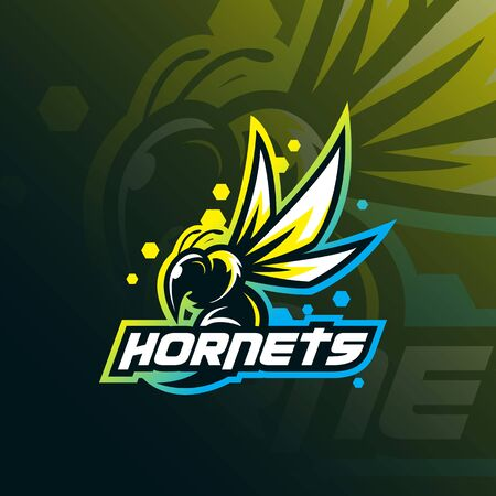 hornets mascot logo design vector with modern illustration concept style for badge, emblem and tshirt printing. angry hornets illustration for sport team. Stockfoto - 134534385